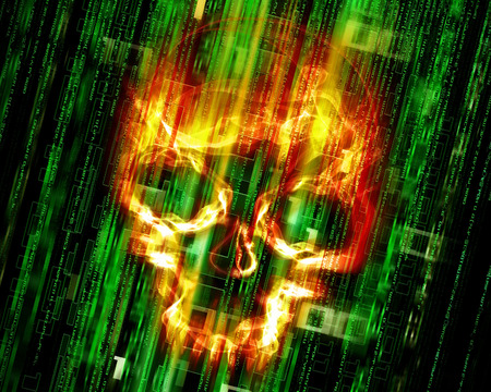 spyware: digital abstract background with fire skull