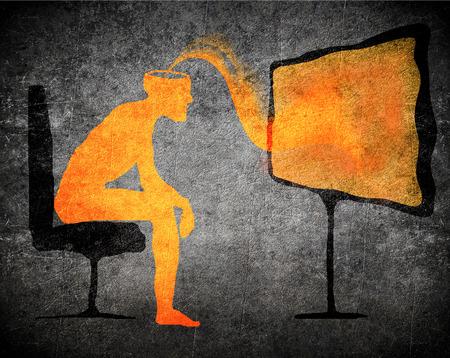 Mann vor dem Fernseher unterschwellige Botschaft Konzept
