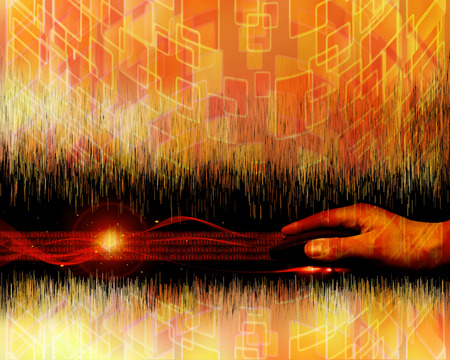 red and orange colored abstract background with hand aand mouse photo