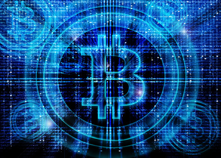 bitcoin symbol digital abstract background Zdjęcie Seryjne