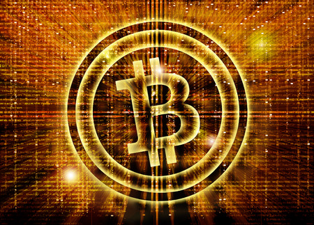 crypto: golden bitcoin symbol digital abstract background