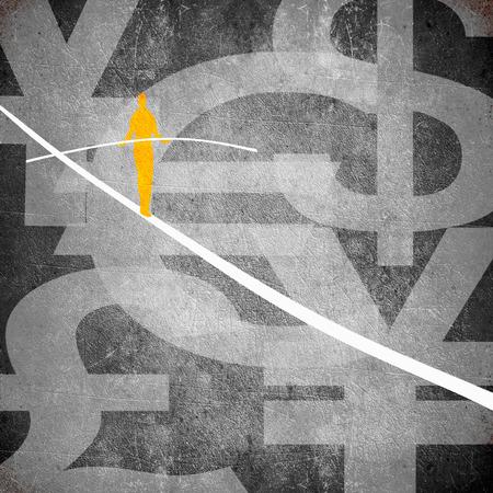 tightrope walker: tightrope walker and money symbol digital illustration