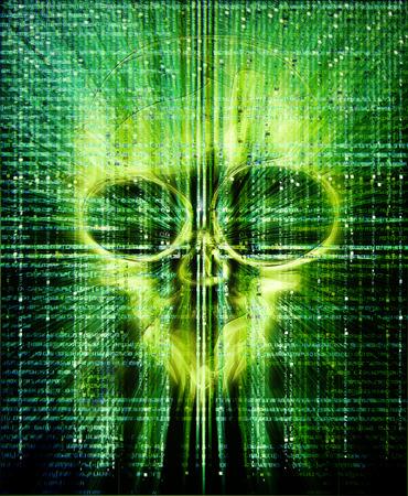 Hackers attak high quality digital illustration with green skull illustration