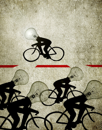 cyclists with blulb heads illustration creativity concept