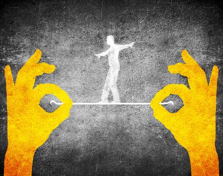 orange hands and tightrope walker