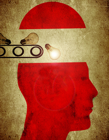 creativeness: red silhouette with bulb creativity factory concept digital illustration Stock Photo