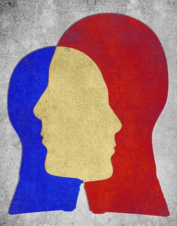 dwa kolorowe szef psychologii slihouette koncepcja Zdjęcie Seryjne