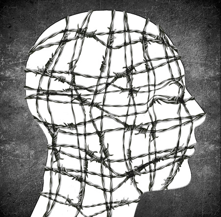 imprisonment: head silhouette with barbedwire digital illustration