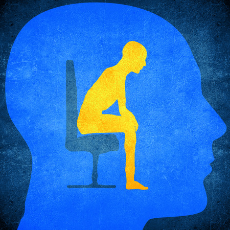 psyche: blue human head silhouette with a man sitting inside psycology concept