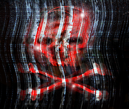 hacked: digital crime concept illustration with skull