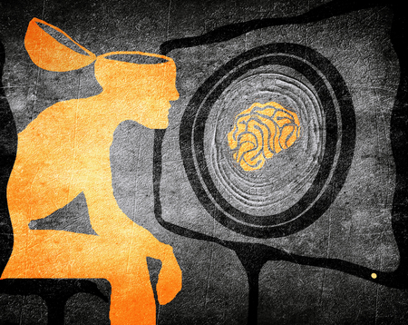 man looking tv washimg brain illustration concept