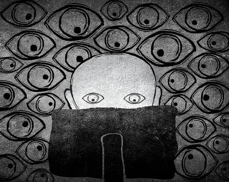 furtive: no privacy conceptblack and white digital illustration