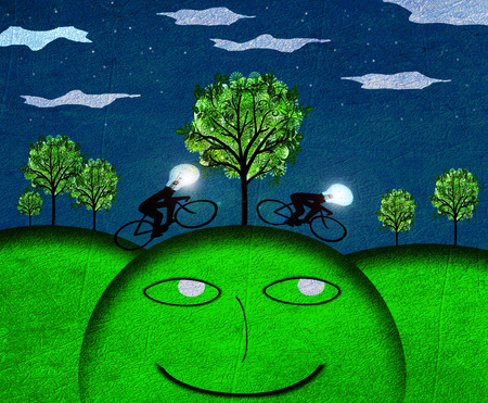 inventions: creativity concept nocturne landscape digital illustration Stock Photo