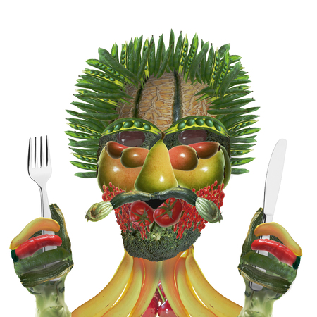 vegetable man with knife and fork isolated on white Banque d'images