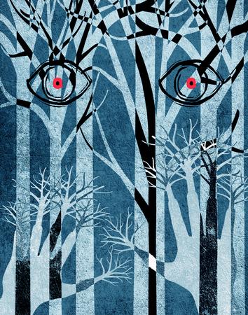 niebieski las z oczami i r?kami cyfrowych ilustracji Zdjęcie Seryjne