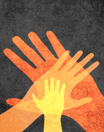 three hands: three hands orange on black digital illustration