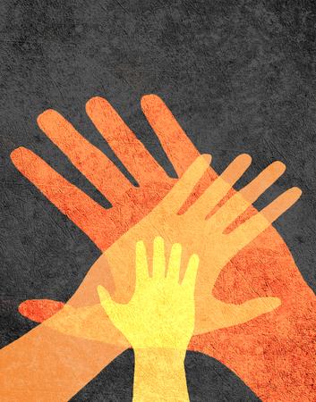 trzy r?ce pomara?czowy na czarnym cyfrowych ilustracji Zdjęcie Seryjne
