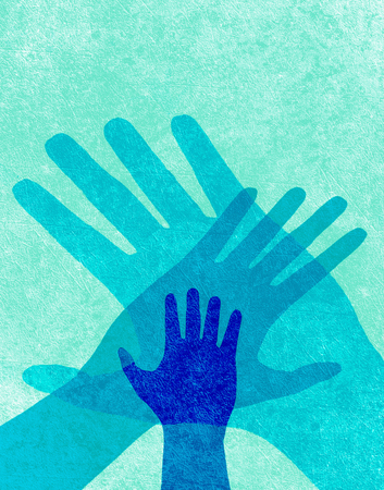 hands together: three hands blue digital illustration Stock Photo