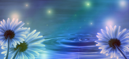 water waves: blue background with flowers and water waves Stock Photo