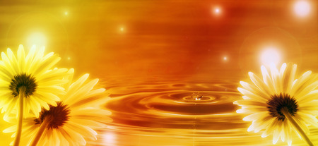 flowing water: golden background with flowers and water waves