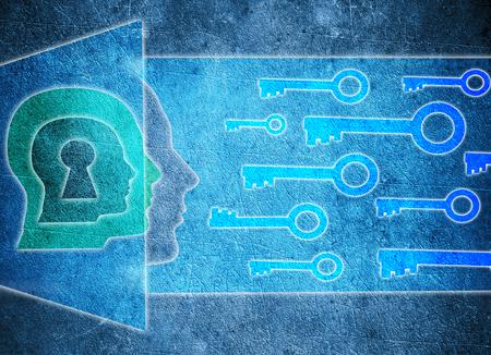 niebieskie ludzka g?owa z dziurka i klucze koncepcji psychologii cyfrowych ilustracji Zdjęcie Seryjne