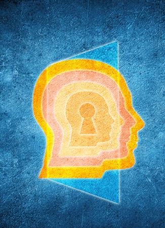 kolorowe ludzk? g?ow? koncepcji dziurka i psychologii drzwi Zdjęcie Seryjne