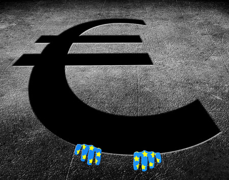 euro symbol pieni?dze z r?kami cyfrowych ilustracji