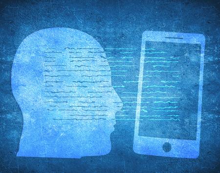 Ludzkiej g?owy i smartphone cyfrowej ilustracji Zdjęcie Seryjne