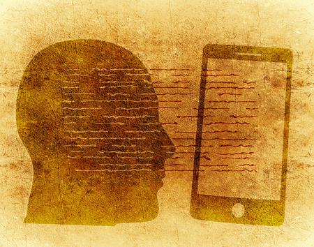 ludzkiej sylwetki g?owy i smartphone cyfrowego ilustracji