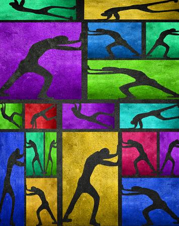 Push kolorowych ilustracji cyfrowych z ludzi s