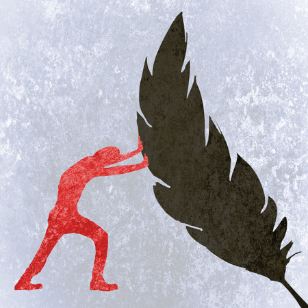 red black and white human silhouette  pushing a feather