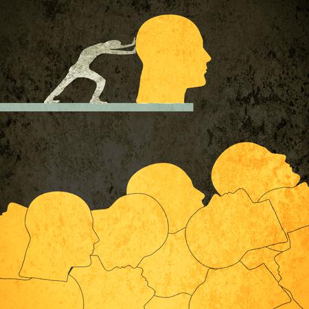 psyche: cabezas humanas naranja ilustración digital Foto de archivo