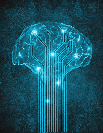 artificial intelligence digital illustration concept with brain Stock Photo