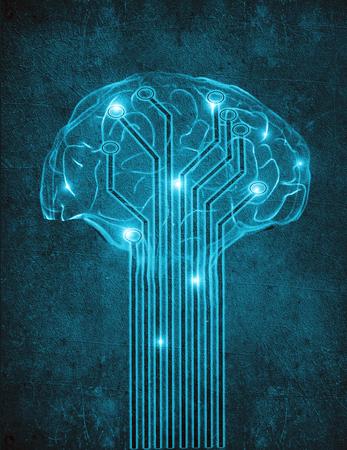 sztuczna inteligencja koncepcji cyfrowego ilustracji z m�zgu