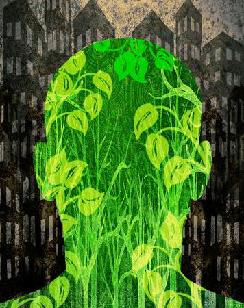 environmentalist: human being in grey city digital illustration