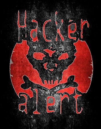 Alarm hakera z cyfrow? ilustracj? czaszki