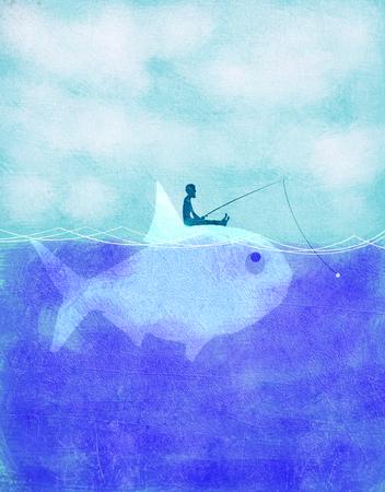 fisherman fishing on fish ecology concept
