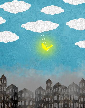 dziecko na hu?tawce z chmurami i miasto cyfrowej ilustracji