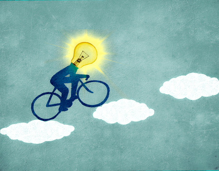 Sun cyclist with clouds digital illustration Zdjęcie Seryjne