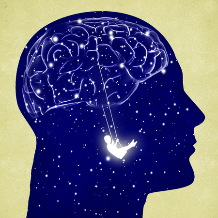 head silhouette with brain and swing digital illustration Stock Photo
