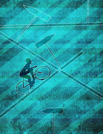 confusion concept digital illustration with cyclist Banque d'images