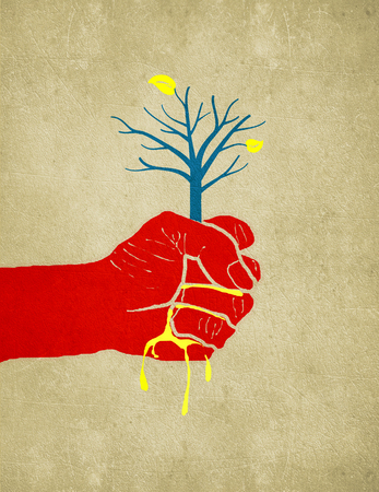 hand sqeeze out a tree digital illustration