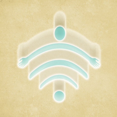 wi fi symbol with flying human figure