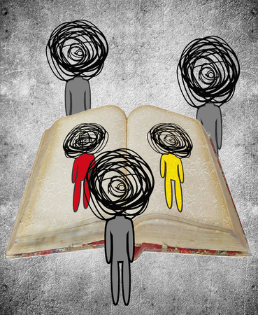 three human figures watching a book knowledge concept digital illustration Stock Photo
