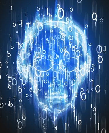 hacker intrusion  with binary code  and human face digital illustration Stock Photo