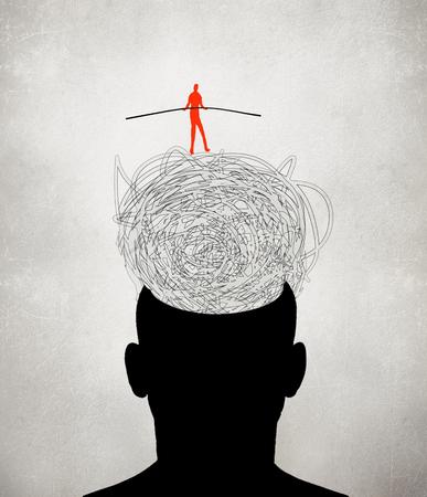 equilibrist walking on muddled thoughts digital illustration