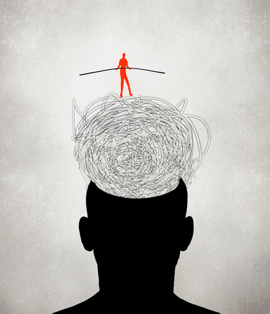 equilibrist walking on muddled thoughts digital illustration Stock fotó - 96826505