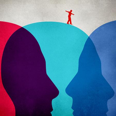 equilibrist walking on colored human heads digital illustration