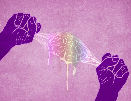 two hands squeezing brain colored digital illustration  Stok Fotoğraf