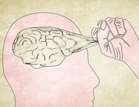 man pull out brain digital illustration Banque d'images